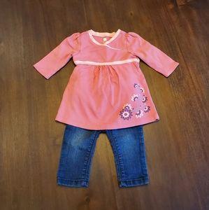 Tea pink Kimono dress/Old Navy skinny jean 6-12 mo